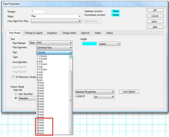 Janela de propriedades das tubulações com as novas opções de diâmetros.